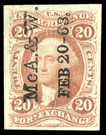 US Stamps Price Scott Catalog R41 - 20c 1862 Revenue Foreign Exchange. Matthew Bennett International, Dec 2008, Sale 330, Lot 1972