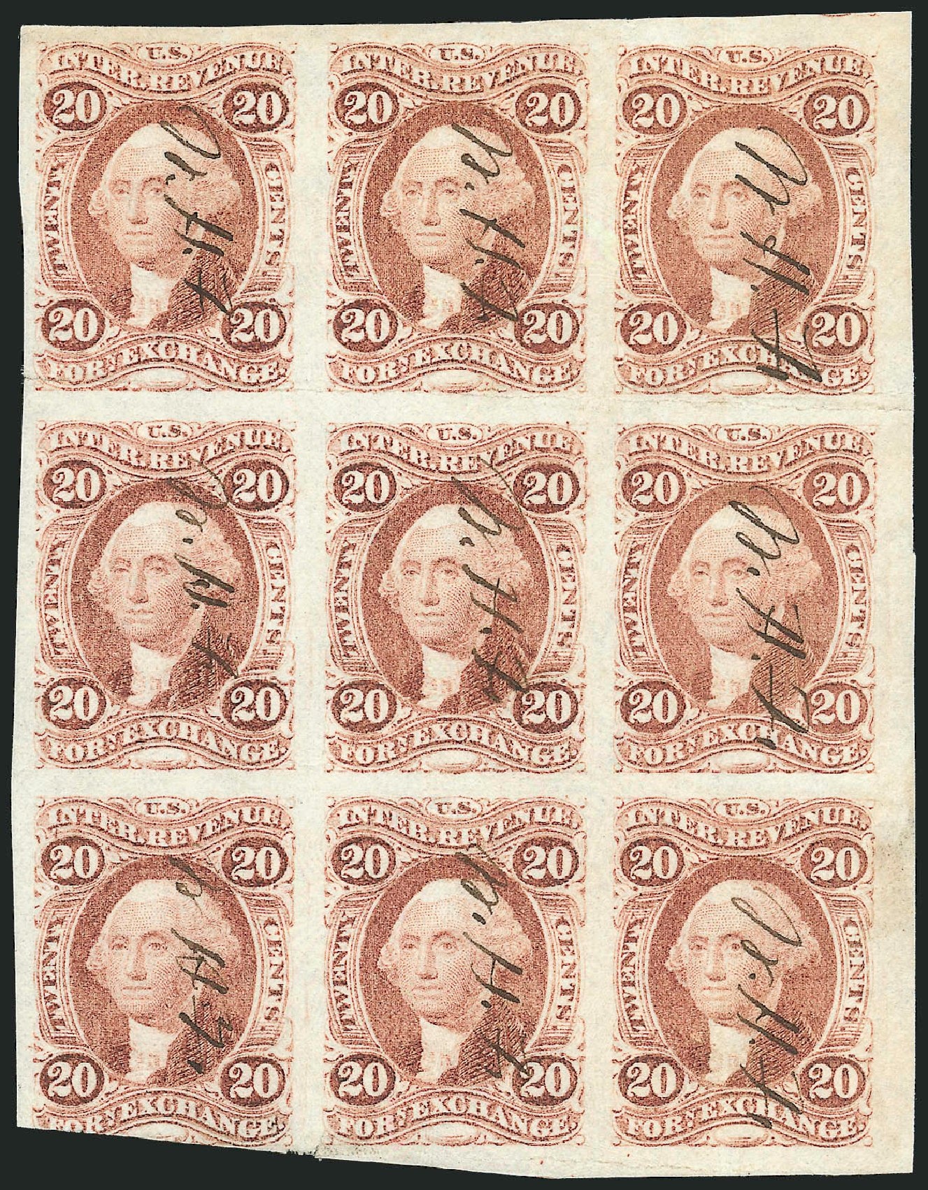US Stamps Prices Scott Catalogue R41: 1862 20c Revenue Foreign Exchange. Robert Siegel Auction Galleries, Dec 2014, Sale 1089, Lot 332