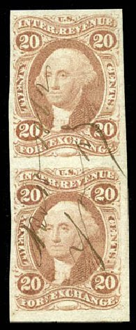 Cost of US Stamps Scott Catalogue #R41 - 1862 20c Revenue Foreign Exchange. Matthew Bennett International, Mar 2012, Sale 344, Lot 4836