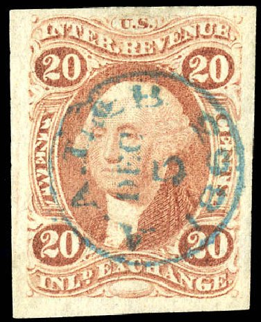 US Stamp Price Scott R42 - 1862 20c Revenue Inland Exchange. Matthew Bennett International, Dec 2008, Sale 330, Lot 1974