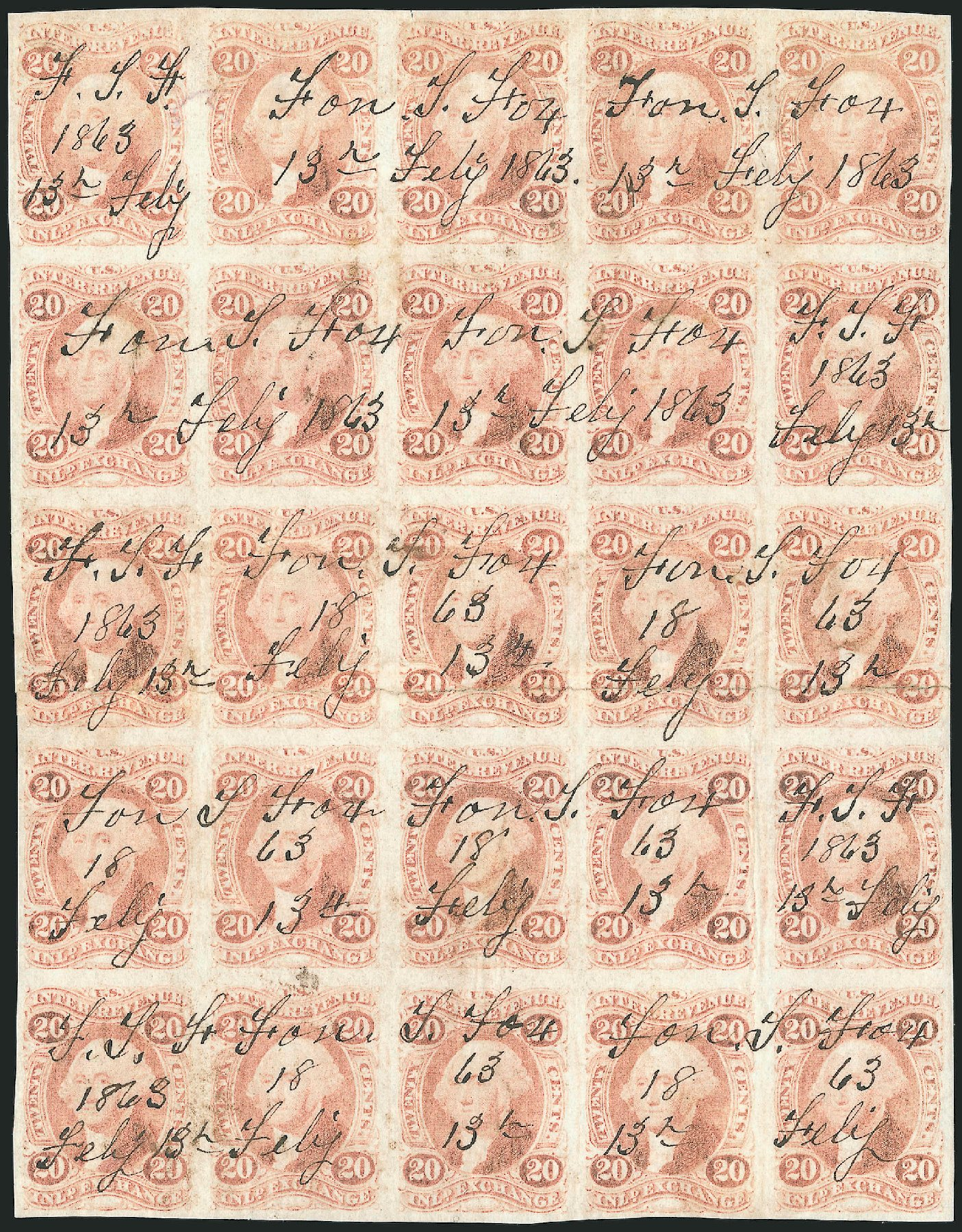 Values of US Stamps Scott Catalogue # R42: 1862 20c Revenue Inland Exchange. Robert Siegel Auction Galleries, Dec 2014, Sale 1089, Lot 334