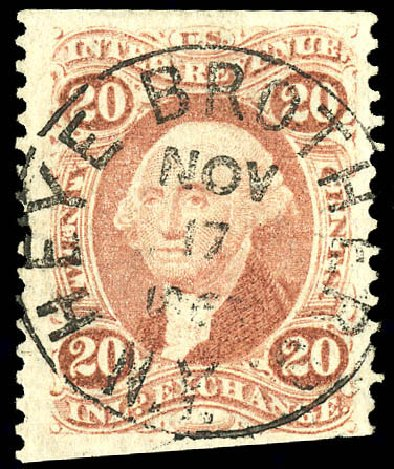 Value of US Stamps Scott Catalogue #R42 - 1862 20c Revenue Inland Exchange. Matthew Bennett International, Dec 2008, Sale 330, Lot 1975