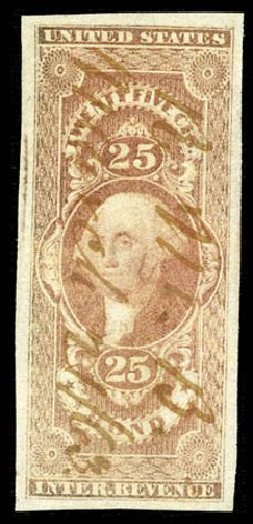 US Stamp Prices Scott Cat. R43: 1862 25c Revenue Bond. Matthew Bennett International, Mar 2012, Sale 344, Lot 4837