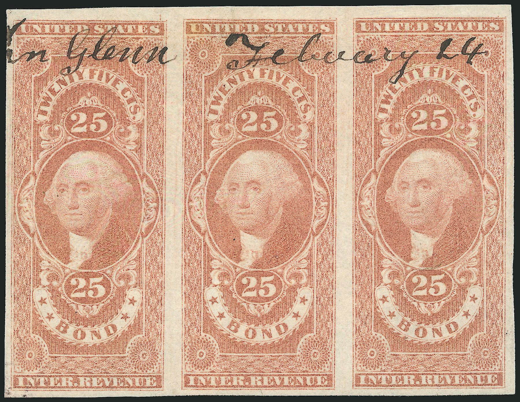 Cost of US Stamps Scott Cat. # R43: 25c 1862 Revenue Bond. Robert Siegel Auction Galleries, Nov 2013, Sale 1061, Lot 4277