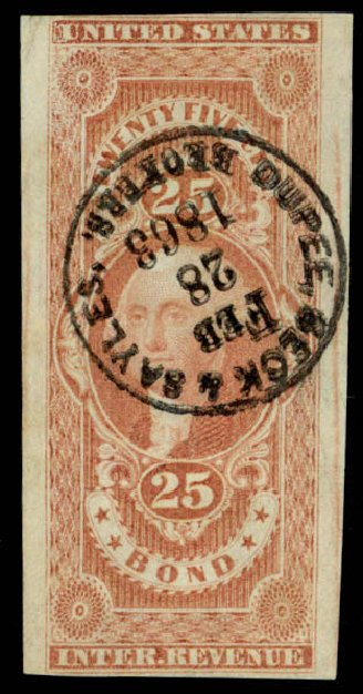Costs of US Stamp Scott Catalog R43: 25c 1862 Revenue Bond. Daniel Kelleher Auctions, Apr 2013, Sale 636, Lot 638