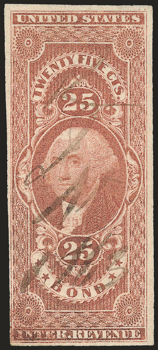 Costs of US Stamps Scott Catalogue R43: 1862 25c Revenue Bond. Robert Siegel Auction Galleries, Dec 2008, Sale 967, Lot 5228
