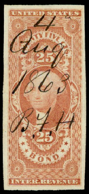 US Stamps Prices Scott Cat. #R43: 1862 25c Revenue Bond. Daniel Kelleher Auctions, May 2015, Sale 665, Lot 51