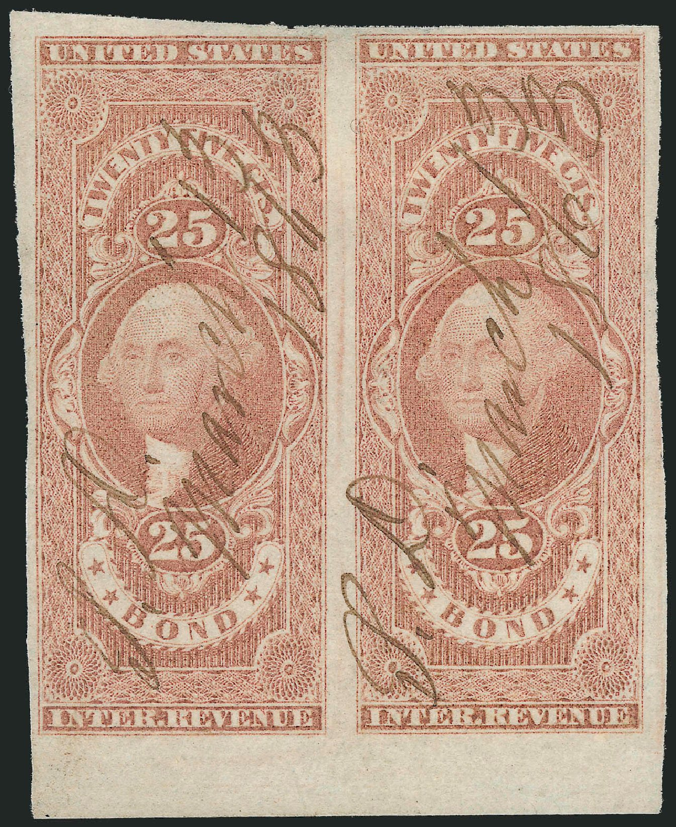 Values of US Stamps Scott Catalogue R43 - 1862 25c Revenue Bond. Robert Siegel Auction Galleries, Jun 2011, Sale 1011, Lot 942