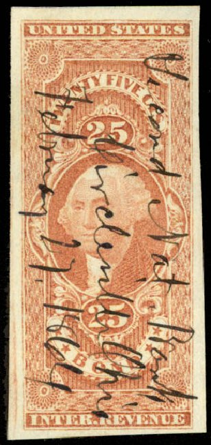 US Stamps Value Scott Catalogue #R43: 1862 25c Revenue Bond. Daniel Kelleher Auctions, Aug 2015, Sale 672, Lot 3066