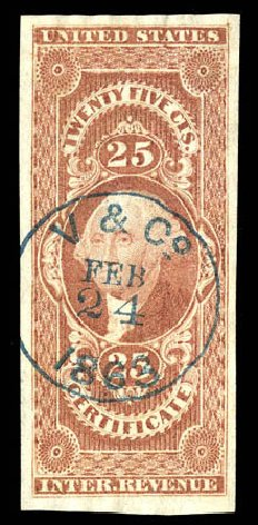 Value of US Stamps Scott Catalogue R44: 25c 1862 Revenue Certificate. Matthew Bennett International, Dec 2008, Sale 330, Lot 1977