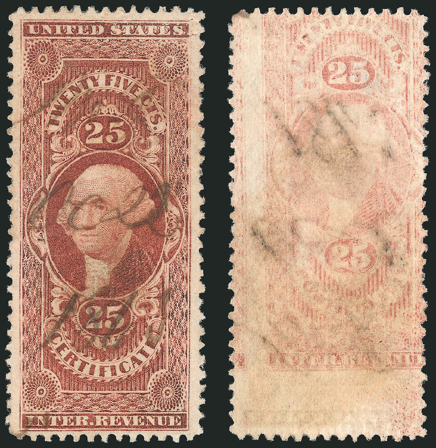 Costs of US Stamps Scott Cat. #R44: 1862 25c Revenue Certificate. Robert Siegel Auction Galleries, Mar 2014, Sale 1066, Lot 67