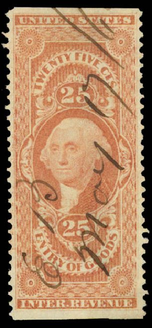 Values of US Stamp Scott R45: 1862 25c Revenue Entry of Goods. Daniel Kelleher Auctions, May 2015, Sale 665, Lot 57