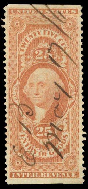 Values of US Stamp Scott R45: 1862 25c Revenue Entry of Goods. Daniel Kelleher Auctions, May 2015, Sale 665, Lot 57