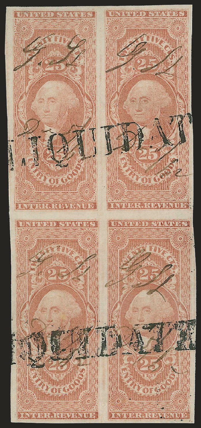 Value of US Stamp Scott R45 - 25c 1862 Revenue Entry of Goods. Robert Siegel Auction Galleries, Jun 2009, Sale 975, Lot 2291