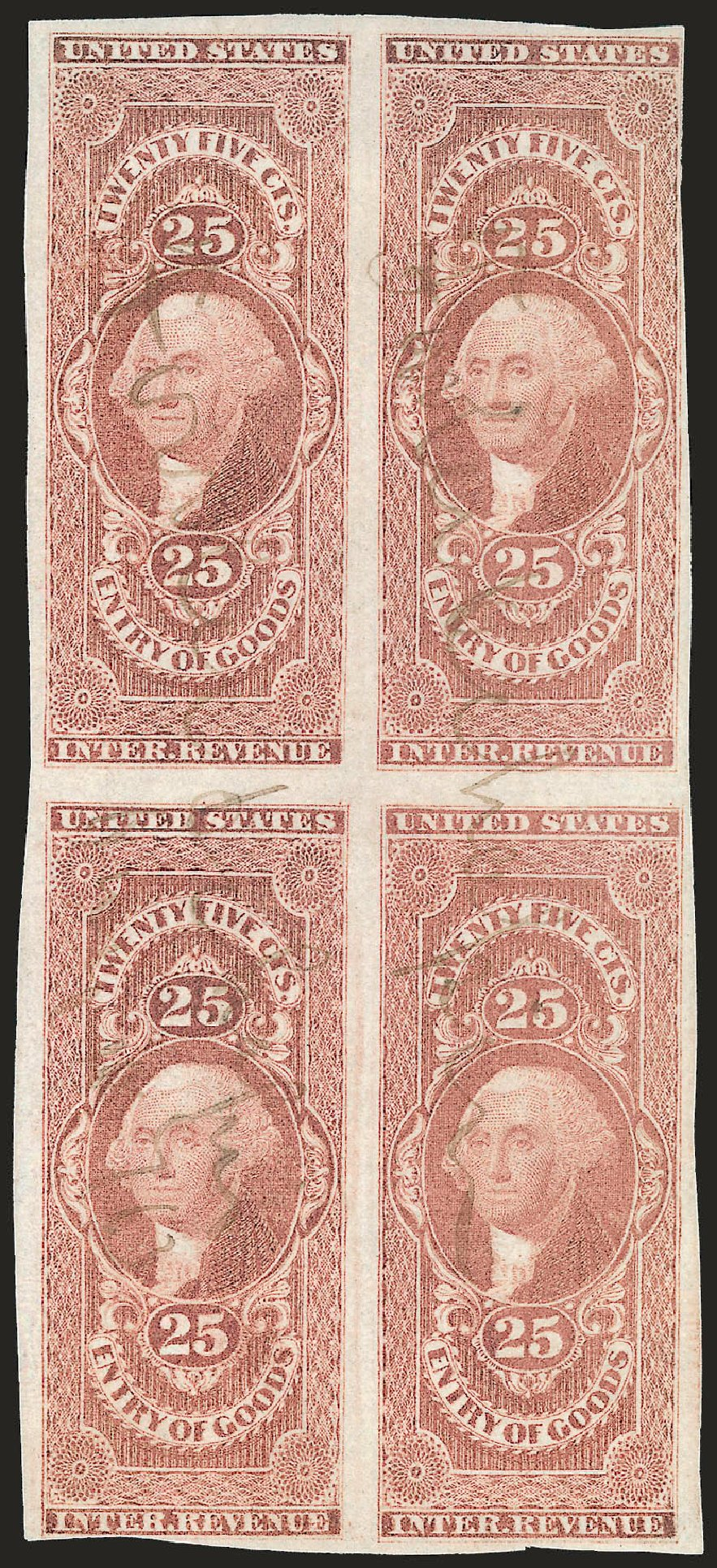 US Stamps Price Scott Catalogue # R45: 25c 1862 Revenue Entry of Goods. Robert Siegel Auction Galleries, Jun 2009, Sale 975, Lot 2292