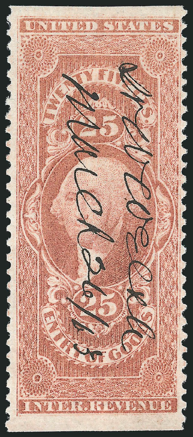 Values of US Stamps Scott Catalog #R45: 1862 25c Revenue Entry of Goods. Robert Siegel Auction Galleries, Nov 2011, Sale 1015, Lot 53