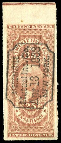 US Stamps Prices Scott Catalog R46: 25c 1862 Revenue Insurance. Matthew Bennett International, Dec 2008, Sale 330, Lot 1979