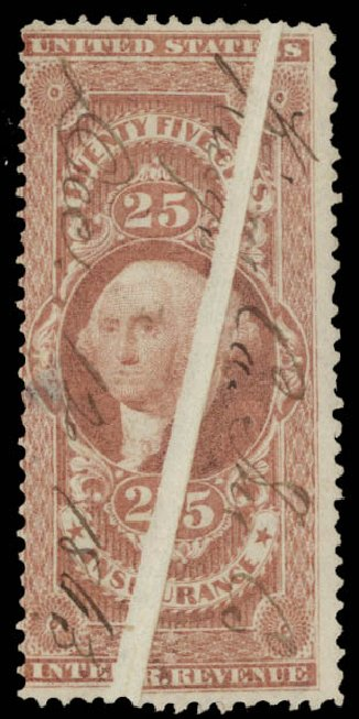 US Stamp Value Scott # R46: 1862 25c Revenue Insurance. Daniel Kelleher Auctions, May 2015, Sale 665, Lot 59