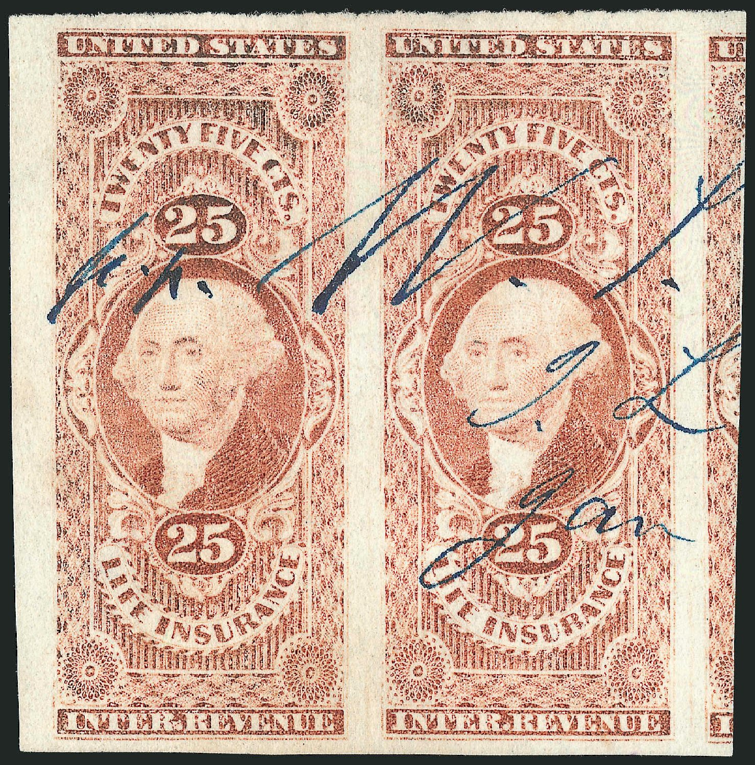 US Stamp Price Scott Catalog # R47 - 1862 25c Revenue Life Insurance. Robert Siegel Auction Galleries, Dec 2014, Sale 1089, Lot 227