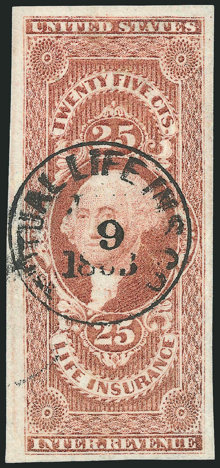 US Stamp Values Scott Catalogue #R47: 1862 25c Revenue Life Insurance. Robert Siegel Auction Galleries, Dec 2009, Sale 978, Lot 1157