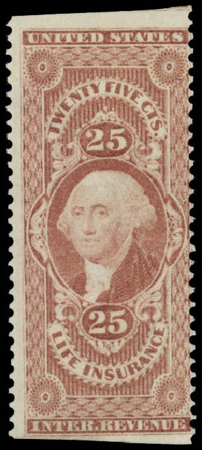US Stamp Values Scott Catalogue #R47: 1862 25c Revenue Life Insurance. Daniel Kelleher Auctions, May 2015, Sale 665, Lot 60