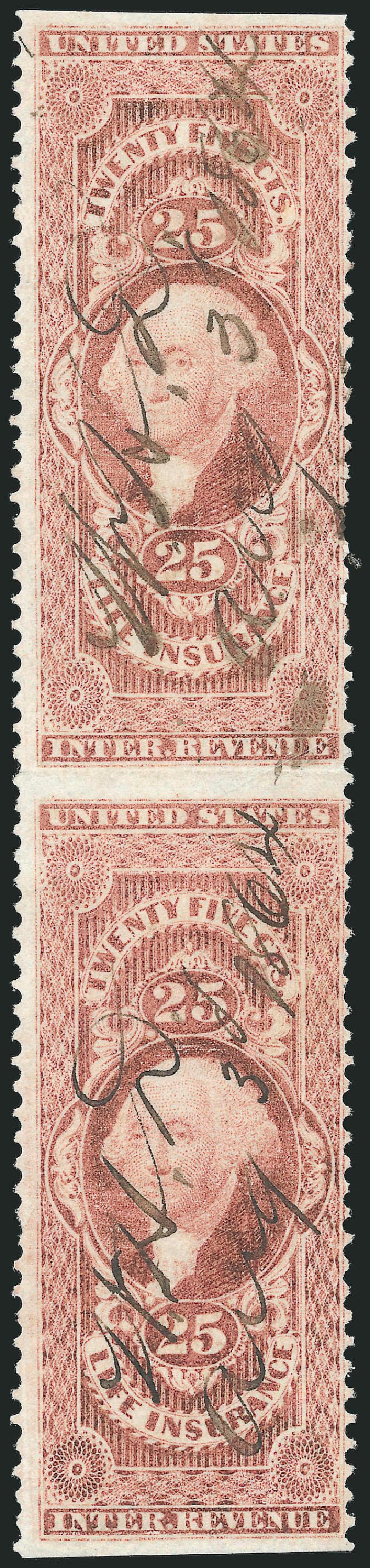 US Stamp Values Scott # R47 - 1862 25c Revenue Life Insurance. Robert Siegel Auction Galleries, Dec 2014, Sale 1089, Lot 404