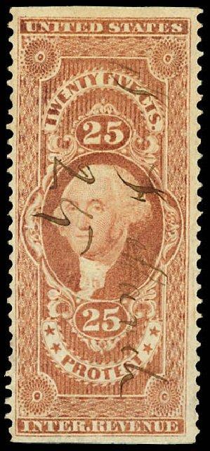 Costs of US Stamps Scott Catalogue # R49 - 1862 25c Revenue Protest. Daniel Kelleher Auctions, Dec 2012, Sale 633, Lot 1127