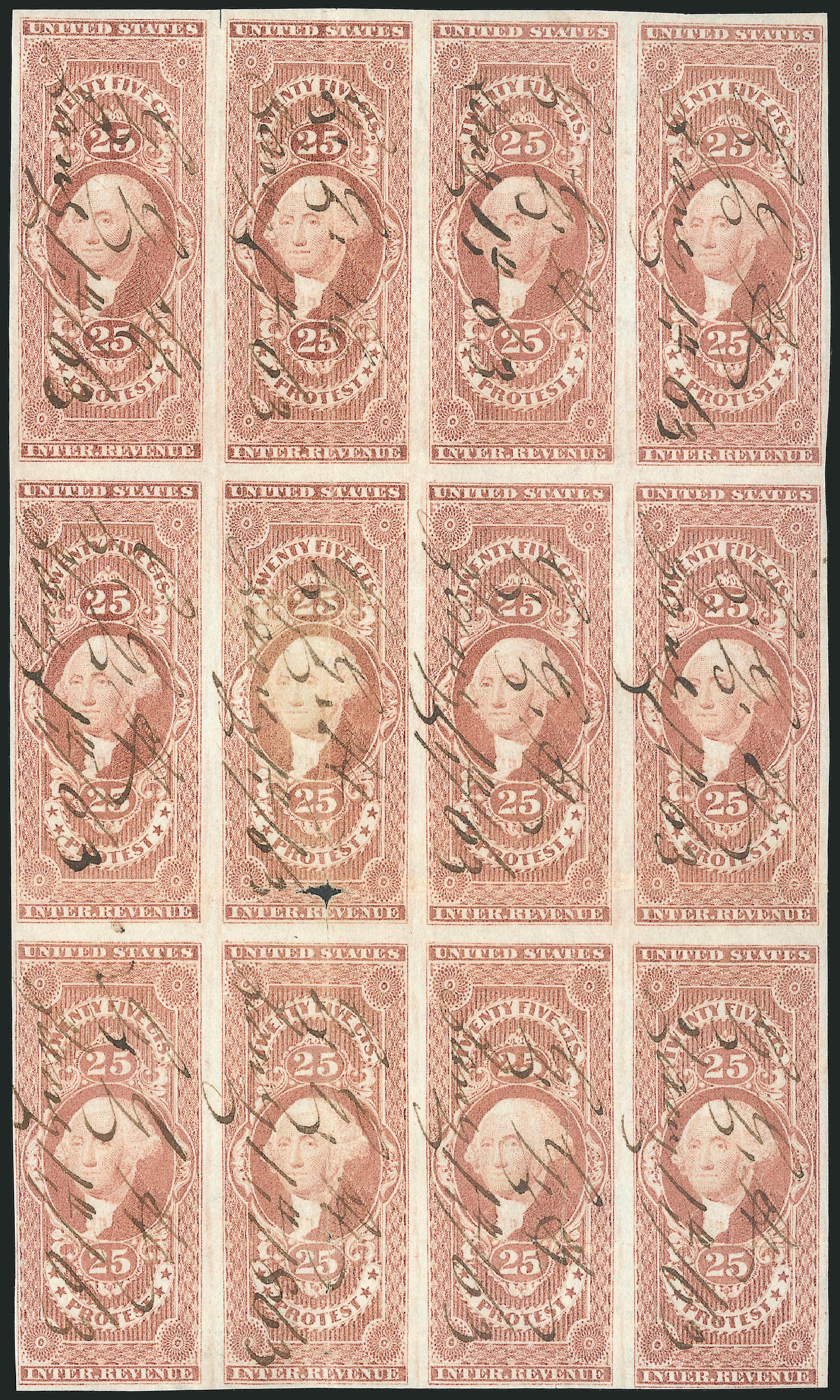 US Stamp Price Scott #R49 - 1862 25c Revenue Protest. Robert Siegel Auction Galleries, Dec 2014, Sale 1089, Lot 339