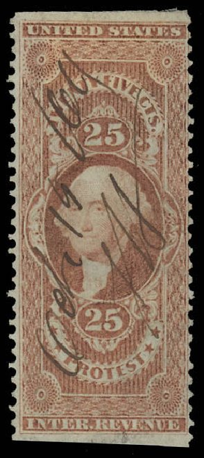 US Stamps Values Scott Cat. R49 - 25c 1862 Revenue Protest. Daniel Kelleher Auctions, Oct 2012, Sale 632, Lot 1611