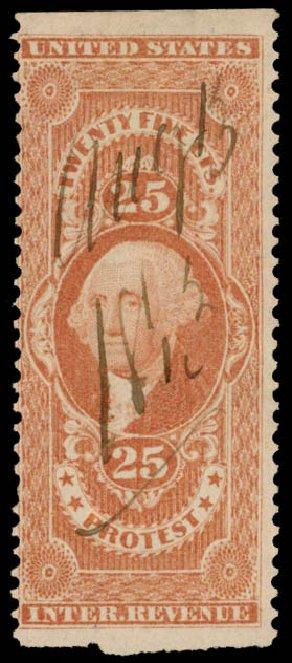 Values of US Stamps Scott # R49 - 25c 1862 Revenue Protest. Daniel Kelleher Auctions, Oct 2014, Sale 660, Lot 2574