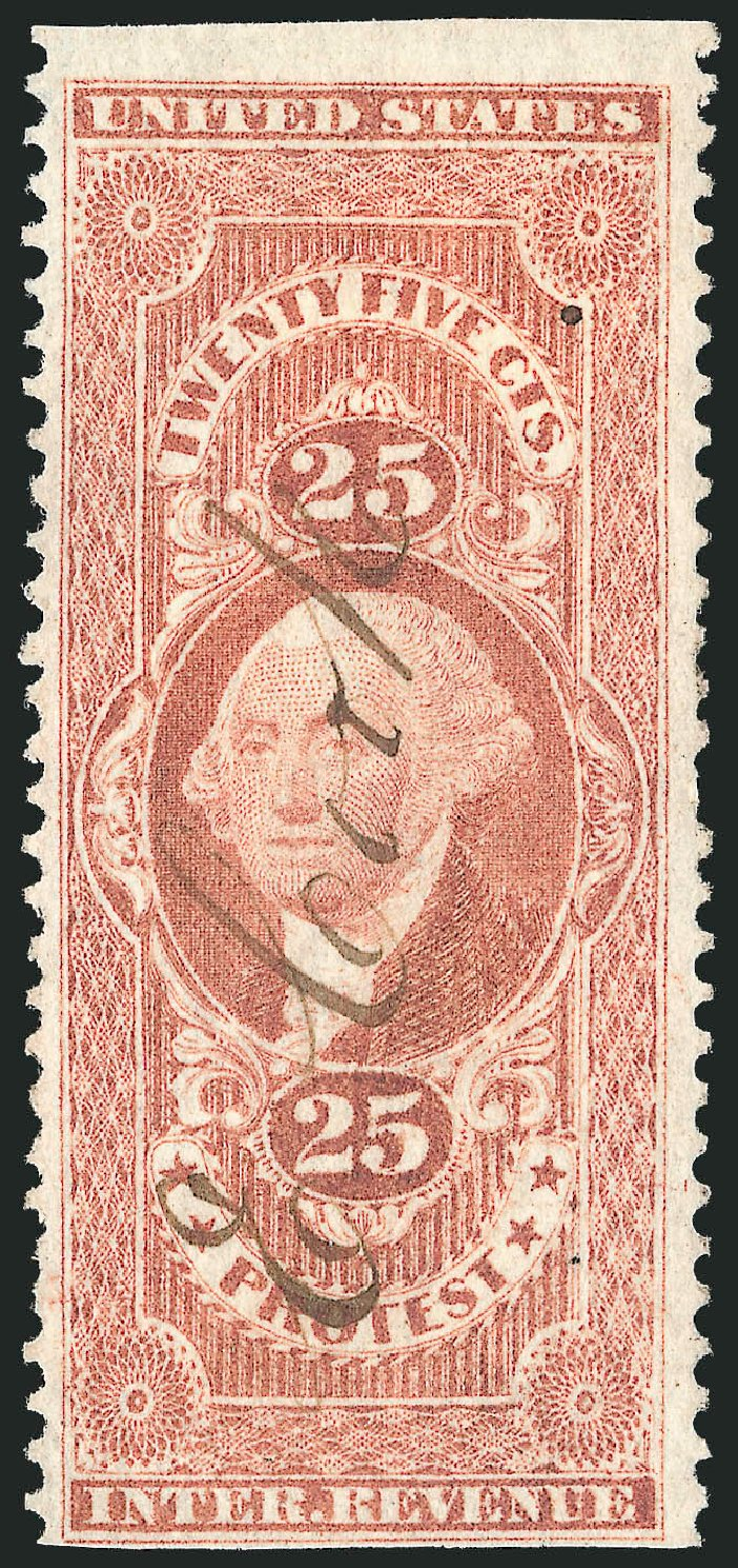 US Stamp Values Scott Catalogue R49 - 1862 25c Revenue Protest. Robert Siegel Auction Galleries, Oct 2012, Sale 1031, Lot 1024