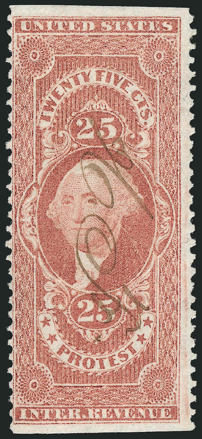 US Stamp Price Scott Catalogue R49 - 25c 1862 Revenue Protest. Robert Siegel Auction Galleries, Nov 2011, Sale 1015, Lot 55