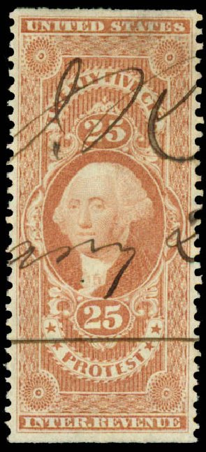 Value of US Stamps Scott # R49 - 25c 1862 Revenue Protest. Daniel Kelleher Auctions, May 2015, Sale 665, Lot 62