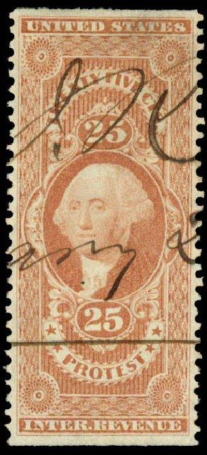 Value of US Stamps Scott # R49 - 25c 1862 Revenue Protest. Daniel Kelleher Auctions, May 2015, Sale 665, Lot 62