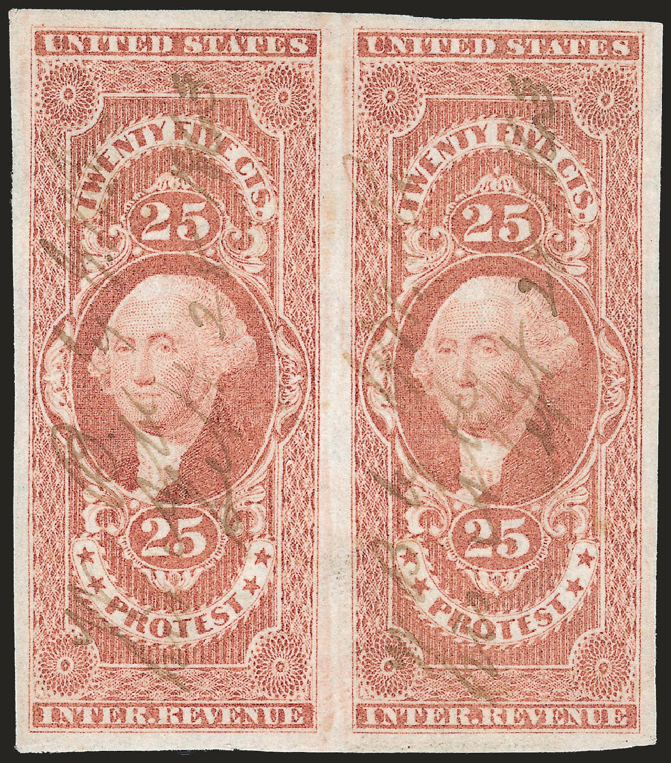 Prices of US Stamp Scott # R49 - 1862 25c Revenue Protest. Robert Siegel Auction Galleries, Jun 2009, Sale 975, Lot 2293