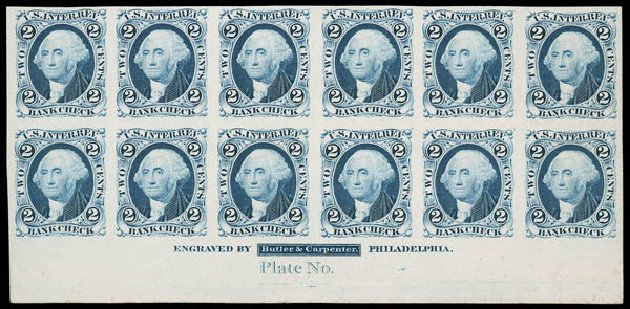 US Stamps Value Scott Cat. R5 - 1862 2c Revenue Bank Check. Matthew Bennett International, Jun 2008, Sale 328, Lot 1321