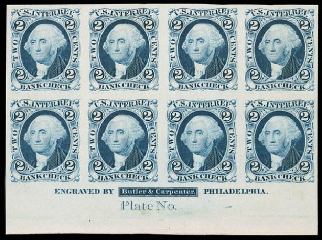 US Stamps Value Scott Catalog R5 - 1862 2c Revenue Bank Check. Matthew Bennett International, Jun 2008, Sale 328, Lot 1322