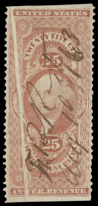 US Stamp Value Scott Catalogue # R50: 1862 25c Revenue Warehouse. Daniel Kelleher Auctions, Aug 2015, Sale 672, Lot 3068