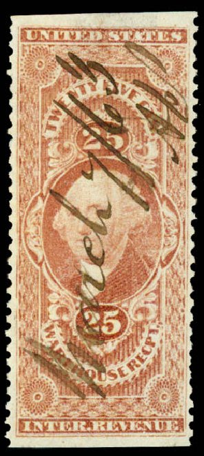 US Stamp Price Scott Catalogue R50 - 25c 1862 Revenue Warehouse. Daniel Kelleher Auctions, Jun 2015, Sale 670, Lot 10