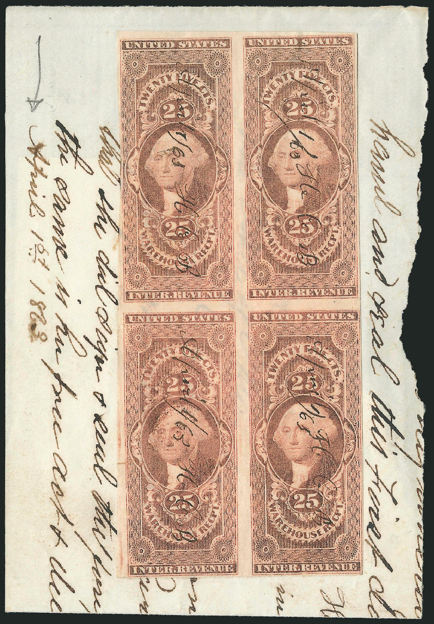 US Stamp Prices Scott Catalogue R50: 1862 25c Revenue Warehouse. Robert Siegel Auction Galleries, Dec 2014, Sale 1089, Lot 340