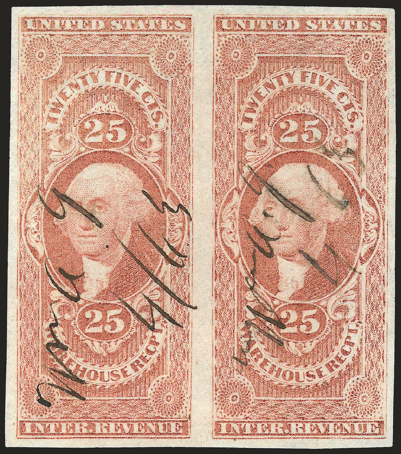 Value of US Stamp Scott Catalog R50: 1862 25c Revenue Warehouse. Robert Siegel Auction Galleries, Dec 2008, Sale 967, Lot 5231