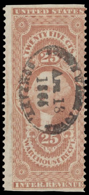 Value of US Stamp Scott Catalogue R50 - 25c 1862 Revenue Warehouse. Daniel Kelleher Auctions, May 2015, Sale 665, Lot 65