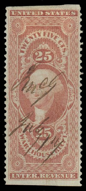 Value of US Stamps Scott Catalogue # R50 - 25c 1862 Revenue Warehouse. Daniel Kelleher Auctions, Oct 2012, Sale 632, Lot 1612