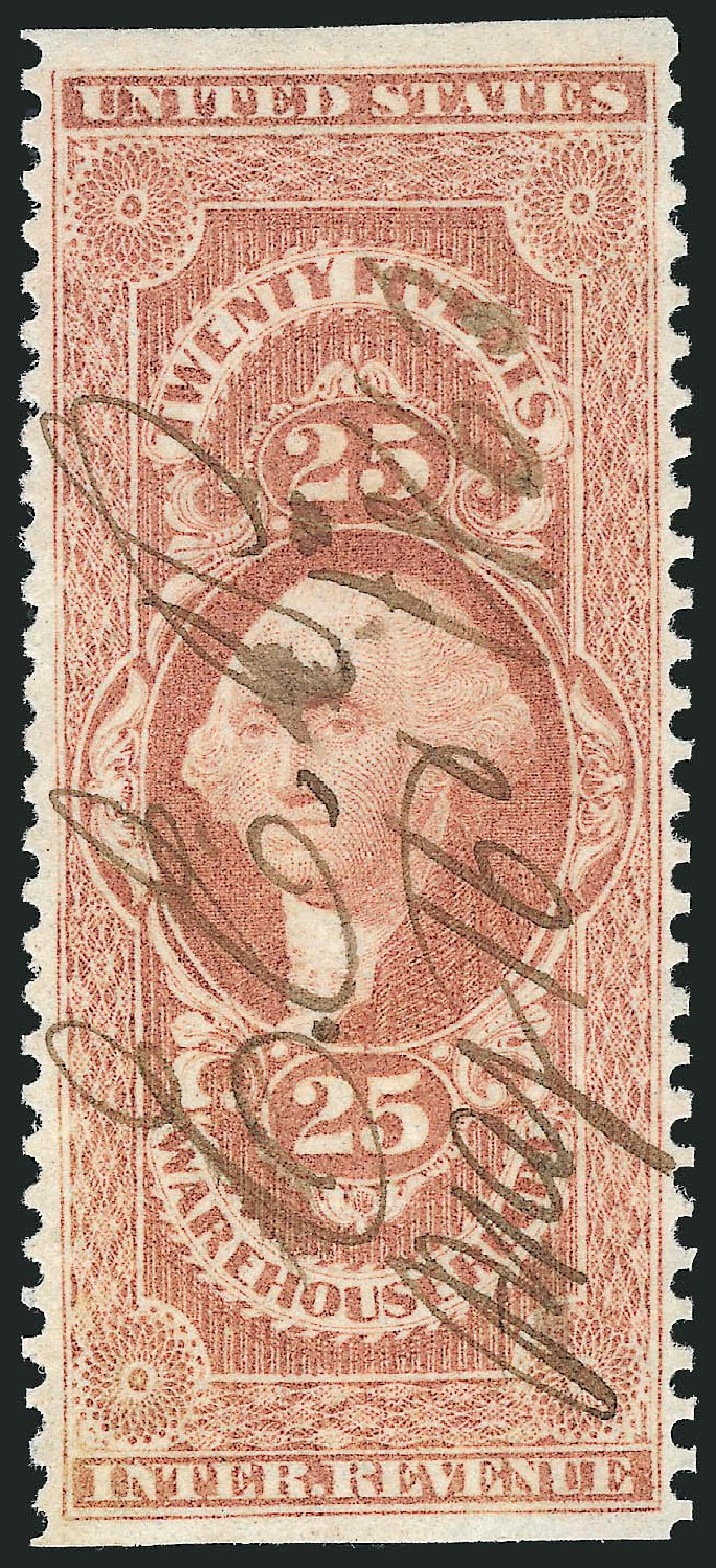 Value of US Stamp Scott Catalogue # R50: 1862 25c Revenue Warehouse. Robert Siegel Auction Galleries, Mar 2014, Sale 1066, Lot 53
