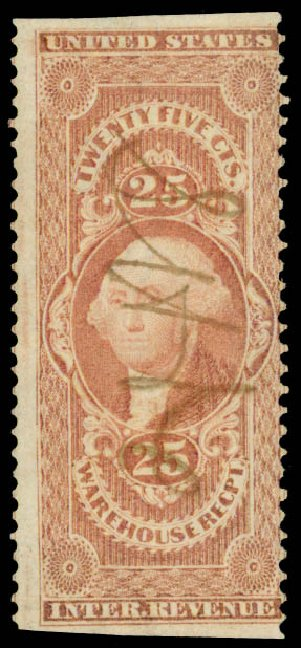 Values of US Stamp Scott Catalog R50 - 1862 25c Revenue Warehouse. Daniel Kelleher Auctions, May 2015, Sale 665, Lot 66