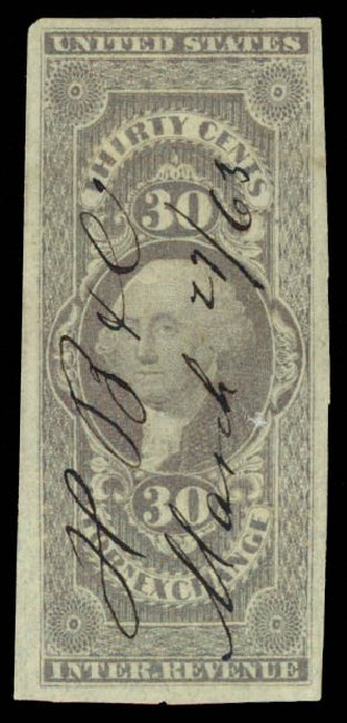 Cost of US Stamps Scott Cat. R51 - 1862 30c Revenue Foreign Exchange. Daniel Kelleher Auctions, May 2015, Sale 665, Lot 67