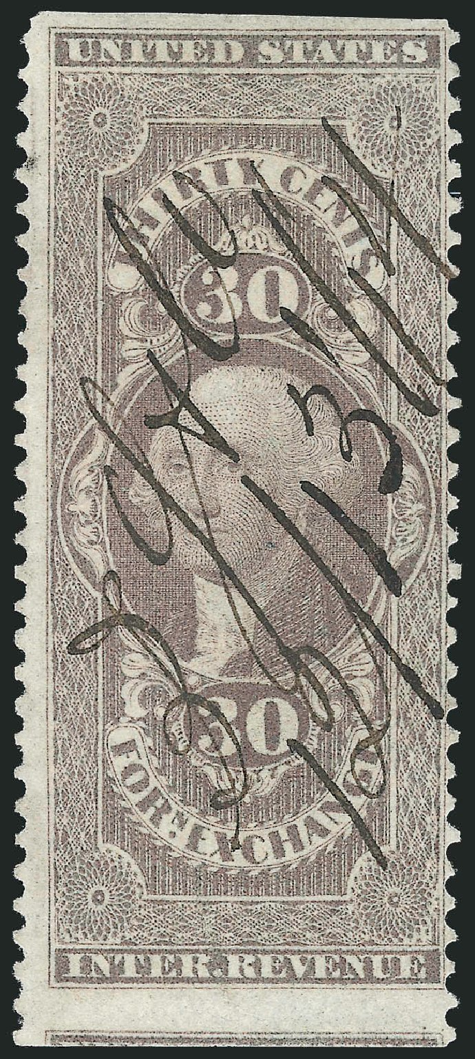 US Stamps Values Scott Catalog # R51: 30c 1862 Revenue Foreign Exchange. Robert Siegel Auction Galleries, Nov 2011, Sale 1015, Lot 57