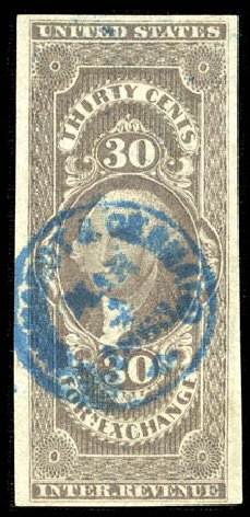 Cost of US Stamps Scott Catalog R51: 1862 30c Revenue Foreign Exchange. Matthew Bennett International, Mar 2012, Sale 344, Lot 4839