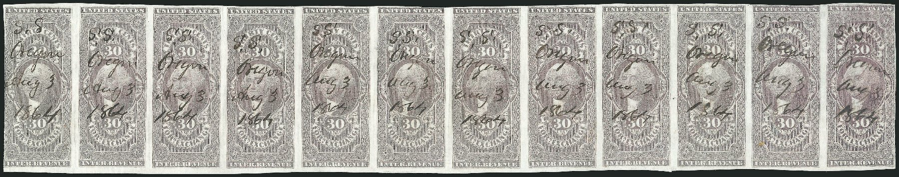 US Stamps Price Scott #R51: 1862 30c Revenue Foreign Exchange. Robert Siegel Auction Galleries, Dec 2014, Sale 1089, Lot 341