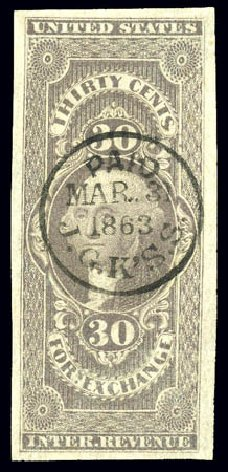 US Stamps Values Scott Catalogue R51 - 30c 1862 Revenue Foreign Exchange. Matthew Bennett International, Dec 2008, Sale 330, Lot 1983